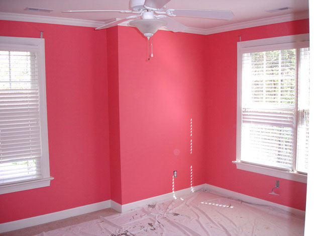 Hot Pink newly painted walls in a house